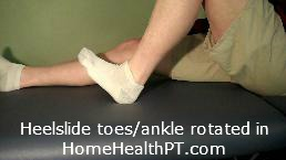 strengthen medial hamstrings, medial ankle with home exercise program heel slides