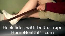 using a rope or belt with heelslides in home exercise program