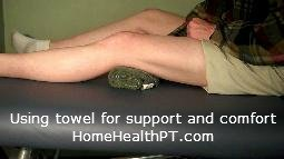 Using a rolled towel for quad set and sleeping comfort